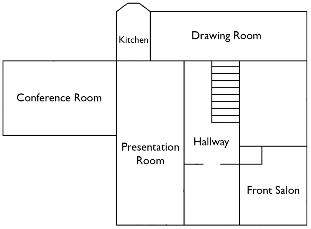 A blueprint of the Samuel Wadsworth Russell House. In the very center of the house is the Hallway, which connects to the Presentation Room on the left, the Front Salon on the right, and the Drawing Room at the top. To the left of the Presentation Room is the Conference Room. Above the Presentation Room and to the left of the Drawing Room is the Kitchen.